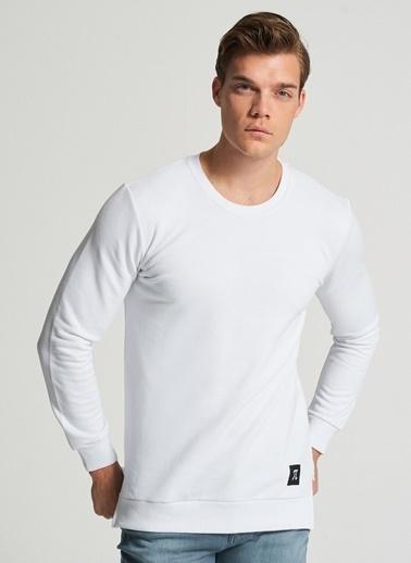 Pi π Yırtmaç Detaylı Sweatshirt Beyaz